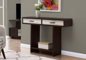 "ACCENT TABLE - 48""L / ESPRESSO / TAUPE RECLAIMED WOOD    MN-682817"