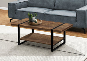 COFFEE TABLE - BROWN RECLAIMED WOOD-LOOK / BLACK METAL    MN-2850