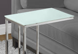 ACCENT TABLE - CHROME METAL WITH FROSTED TEMPERED GLASS  MN-3000
