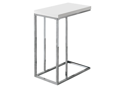 ACCENT TABLE - GLOSSY WHITE WITH CHROME METAL   I-3008