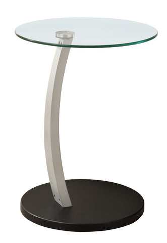 ACCENT TABLE - BLACK / SILVER BENTWOOD W/ TEMPERED GLASS  I-3009