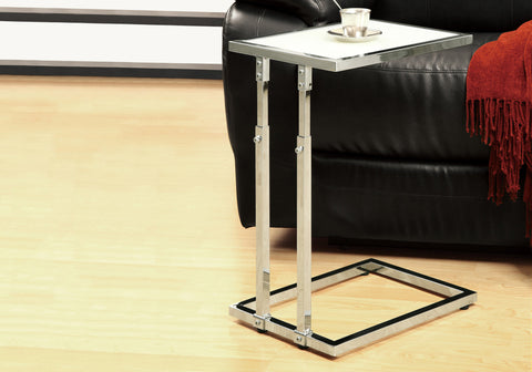 ACCENT TABLE - CHROME METAL ADJUSTABLE HEIGHT / TEMPERED   MN-3012