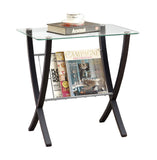ACCENT TABLE - CAPPUCCINO BENTWOOD WITH TEMPERED GLASS  I-3021