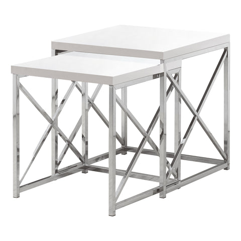 NESTING TABLE - 2PCS SET / GLOSSY WHITE / CHROME METAL   MN-3025