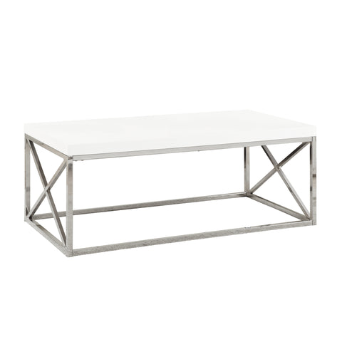 COFFEE TABLE - GLOSSY WHITE WITH CHROME METAL   MN-3028