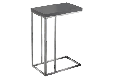 ACCENT TABLE - GLOSSY GREY WITH CHROME METAL  I-3030