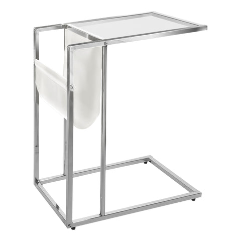ACCENT TABLE - WHITE / CHROME METAL WITH A MAGAZINE RACK  I-3034