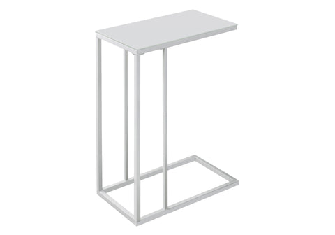 ACCENT TABLE - WHITE METAL WITH FROSTED TEMPERED GLASS  I-3037