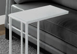 ACCENT TABLE - WHITE METAL WITH FROSTED TEMPERED GLASS  MN-3037
