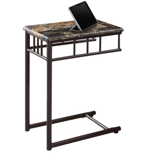 ACCENT TABLE - ESPRESSO MARBLE / BRONZE METAL    MN-3043