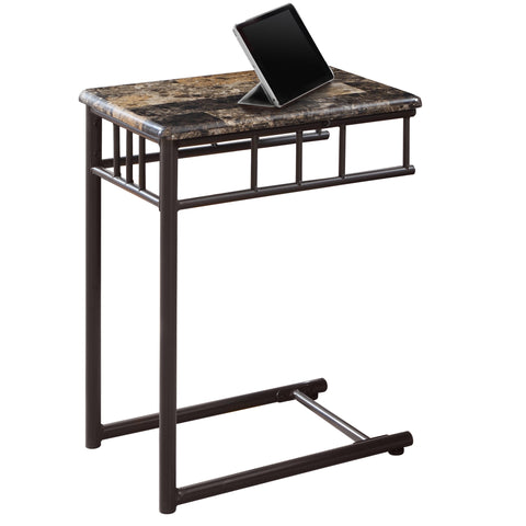 ACCENT TABLE - CAPPUCCINO MARBLE / BRONZE METAL   MN-3043