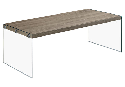COFFEE TABLE - DARK TAUPE WITH TEMPERED GLASS  I-3054