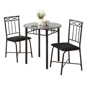 DINING SET - 3PCS SET / GREY MARBLE / CHARCOAL METAL     MN-3065