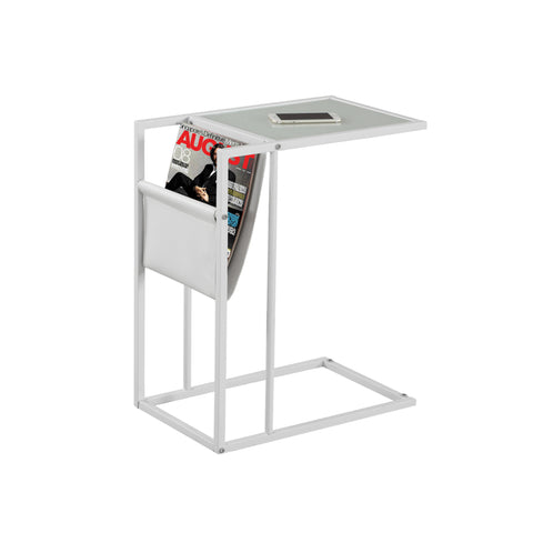 ACCENT TABLE - WHITE / WHITE METAL WITH A MAGAZINE RACK  I-3067