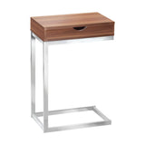 ACCENT TABLE - WALNUT / CHROME METAL WITH A DRAWER  I-3070
