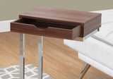 ACCENT TABLE - WALNUT / CHROME METAL WITH A DRAWER   MN-3070