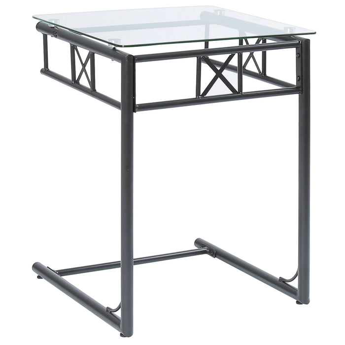 ACCENT TABLE - BLACK METAL WITH TEMPERED GLASS   MN-563077