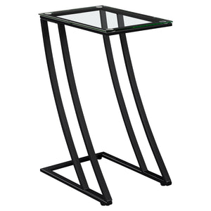 ACCENT TABLE - BLACK METAL WITH TEMPERED GLASS    MN-563089