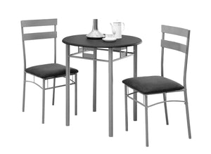 DINING SET - 3PCS SET / BLACK / SILVER METAL    MN-3095