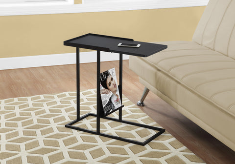 ACCENT TABLE - BLACK / BLACK METAL WITH A MAGAZINE RACK   MN-3097