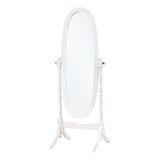 "MIRROR - 59""H / ANTIQUE WHITE OVAL WOOD FRAME   I-3102"