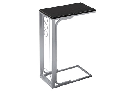 ACCENT TABLE - BLACK TOP / SILVER METAL   I-3137