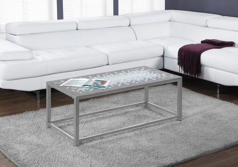 COFFEE TABLE - GREY / BLUE TILE TOP / HAMMERED SILVER    MN-3140