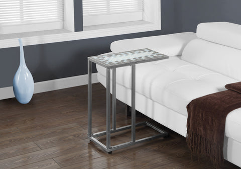 ACCENT TABLE - GREY / BLUE TILE TOP / HAMMERED SILVER    MN-3144