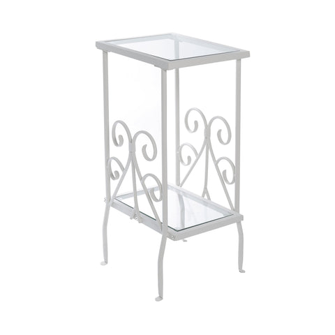 "ACCENT TABLE - 30""H / WHITE METAL WITH TEMPERED GLASS  I-3157"