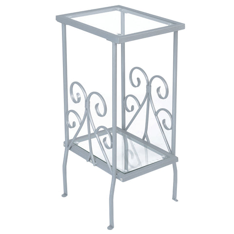 "ACCENT TABLE - 30""H / SILVER METAL WITH TEMPERED GLASS  MN-3158"