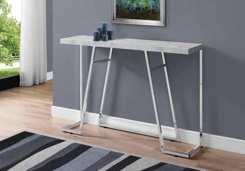 "ACCENT TABLE - 48""L / GREY CEMENT / CHROME METAL   MN-3168"