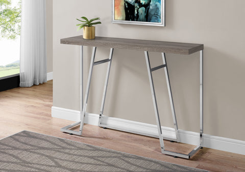 "ACCENT TABLE - 48""L / DARK TAUPE / CHROME METAL   MN-3169"