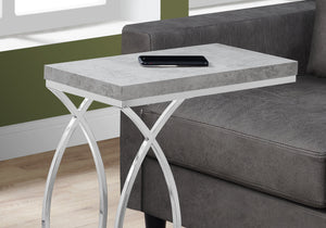 ACCENT TABLE - GREY CEMENT WITH CHROME METAL    MN-653185