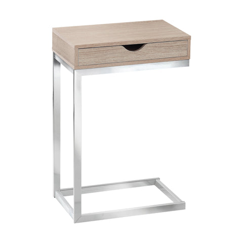 ACCENT TABLE - CHROME METAL / NATURAL WITH A DRAWER  I-3204
