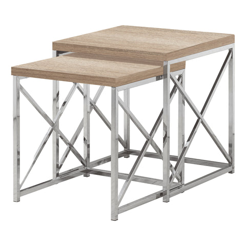 NESTING TABLE - 2PCS SET / NATURAL WITH CHROME METAL  MN-3205