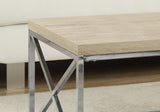 COFFEE TABLE - NATURAL WITH CHROME METAL  MN-3208