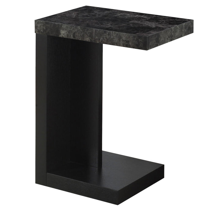 ACCENT TABLE - BLACK / GREY MARBLE-LOOK TOP    MN-3211