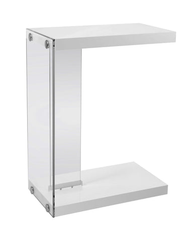 ACCENT TABLE - GLOSSY WHITE WITH TEMPERED GLASS  I-3215