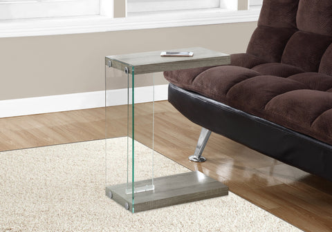 ACCENT TABLE - DARK TAUPE WITH TEMPERED GLASS   MN-3217