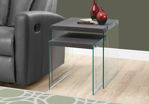 NESTING TABLE - 2PCS SET / GREY WITH TEMPERED GLASS   MN-3221