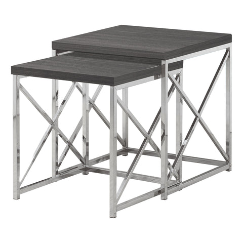 NESTING TABLE - 2PCS SET / GREY WITH CHROME METAL  MN-3226