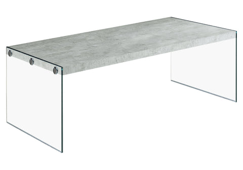COFFEE TABLE - GREY CEMENT WITH TEMPERED GLASS  MN-3230