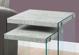 NESTING TABLE - 2PCS SET / GREY CEMENT / TEMPERED GLASS  MN-3231