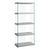 "BOOKCASE - 60""H / GREY CEMENT WITH TEMPERED GLASS  I-3233"
