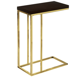 ACCENT TABLE - ESPRESSO / GOLD METAL    MN-3235