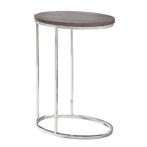 ACCENT TABLE - OVAL / DARK TAUPE WITH CHROME METAL  I-3241