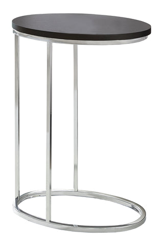 ACCENT TABLE - OVAL / CAPPUCCINO WITH CHROME METAL  MN-3242