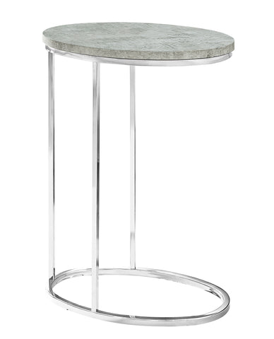 ACCENT TABLE - OVAL / GREY CEMENT WITH CHROME METAL  MN-3244