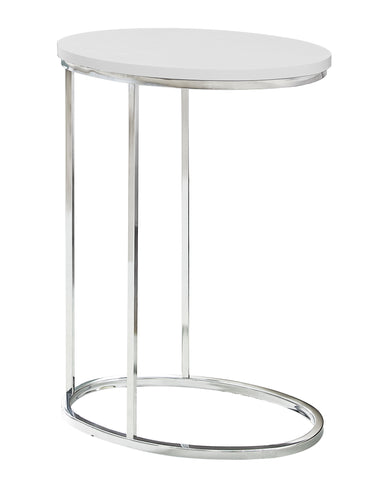 ACCENT TABLE - OVAL / GLOSSY WHITE WITH CHROME METAL  I-3246