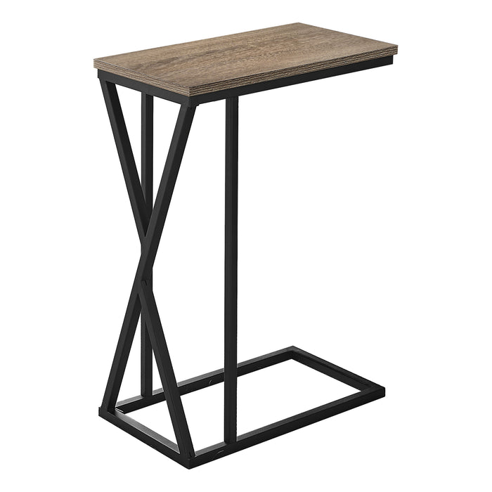 "ACCENT TABLE - 25""H / DARK TAUPE / BLACK METAL    MN-343249"